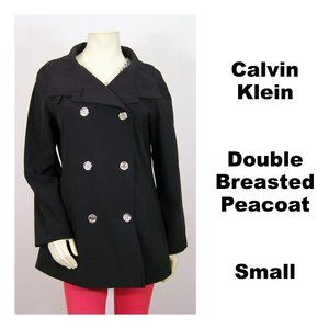 Calvin Klein Double Breasted Peacoat Black